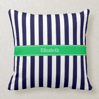 Navy Blue White Stripe Emerald Green Name Monogram Pillows