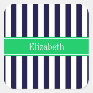Navy Blue White Stripe Emerald Green Name Monogram Square Sticker