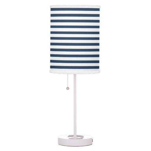 navy blue white stripe lamp shade zazzle. Black Bedroom Furniture Sets. Home Design Ideas