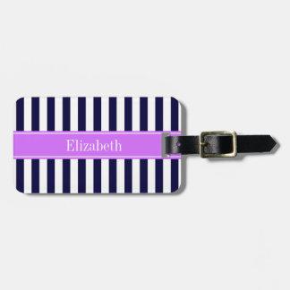 Navy Blue White Stripe Lilac Name Monogram Travel Bag Tags