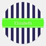 Navy Blue White Stripe Lime Name Monogram Classic Round Sticker