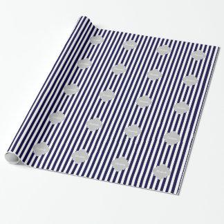 Navy Blue White Stripe Lt Gray Quatrefoil Monogram Wrapping Paper
