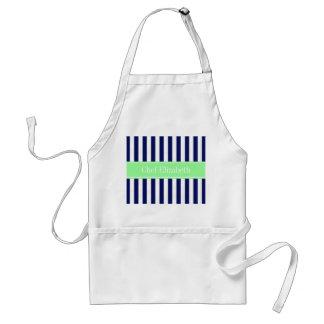 Navy Blue White Stripe Mint Green Name Monogram Adult Apron