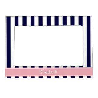 Navy Blue White Stripe Pink Name Monogram Photo Frame Magnet