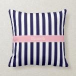 Navy Blue White Stripe Pink Name Monogram Throw Pillow