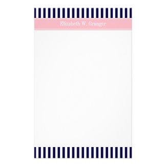 Navy Blue White Stripe Pink Name Monogram Stationery