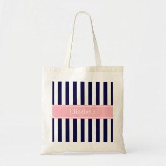Navy Blue White Stripe Pink Name Monogram Tote Bag