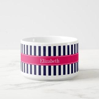 Navy Blue White Stripe Raspberry Name Monogram Bowl