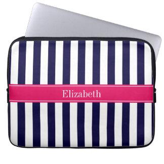 Navy Blue White Stripe Raspberry Name Monogram Computer Sleeve