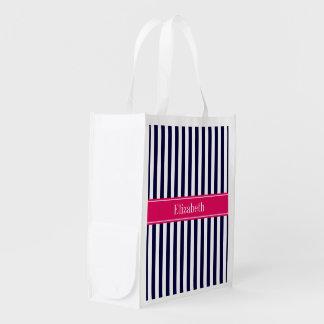 Navy Blue White Stripe Raspberry Name Monogram Grocery Bag
