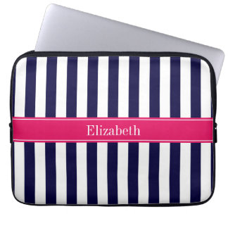 Navy Blue White Stripe Raspberry Name Monogram Laptop Sleeve