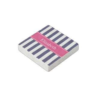 Navy Blue White Stripe Raspberry Name Monogram Stone Magnet