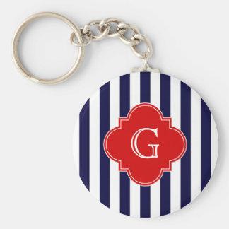 Navy Blue White Stripe Red Quatrefoil Monogram Basic Round Button Keychain