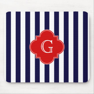 Navy Blue White Stripe Red Quatrefoil Monogram Mouse Pad