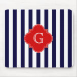Navy Blue White Stripe Red Quatrefoil Monogram Mousepad