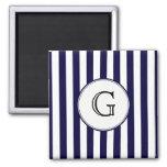 Navy Blue White Stripe Round Wht Monogram Label 2 Inch Square Magnet