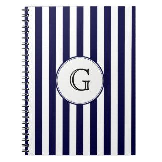 Navy Blue White Stripe Round Wht Monogram Label Notebook