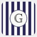 Navy Blue White Stripe Round Wht Monogram Label Sticker
