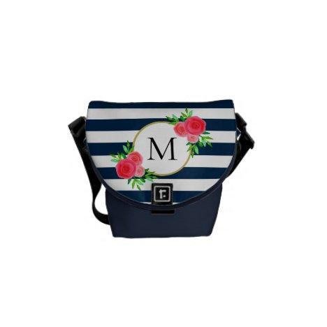Navy Blue White Striped Coral Floral Monogram Mini Courier Bag
