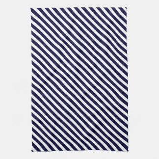 Navy Blue & White Striped Pattern Towel