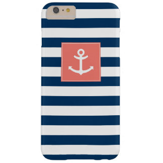 Navy Blue White Stripes Anchor Barely There iPhone 6 Plus Case