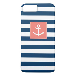 Navy Blue White Stripes Anchor iPhone 7 Plus Case