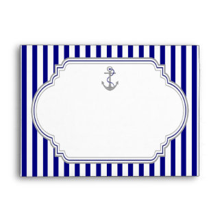 Navy blue, white stripes & anchor nautical wedding envelope