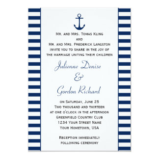 Navy Blue White Stripes Anchor Nautical Weddings Card