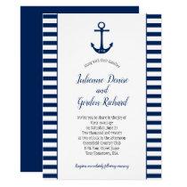 Navy Blue White Stripes Anchor Nautical Weddings Invitation