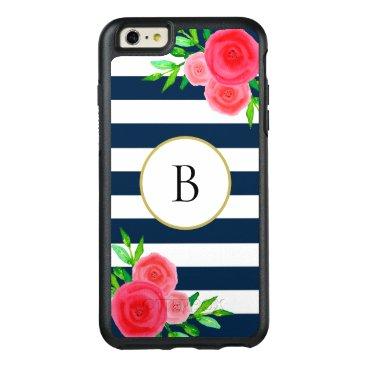 Navy Blue White Stripes Cute Coral Floral Monogram OtterBox iPhone 6/6s Plus Case