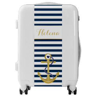 Navy blue white stripes gold foil anchor nautical luggage