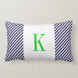 Navy Blue White Stripes Green Monogram Pillows