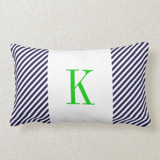 Navy Blue White Stripes Green Monogram Throw Pillow