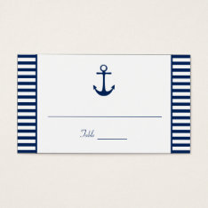 Navy Blue White Stripes Nautical Place Cards at Zazzle