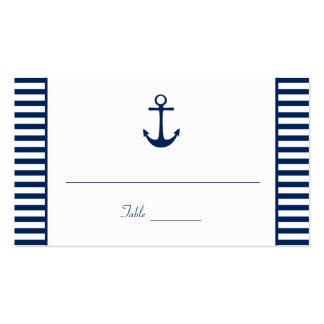Navy Blue White Stripes Nautical Place Cards Business Card