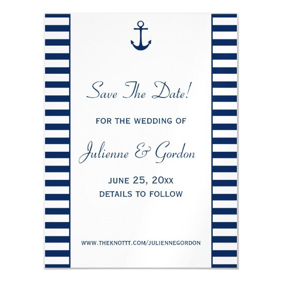 Navy Blue White Stripes Nautical Save The Date Magnetic Invitation