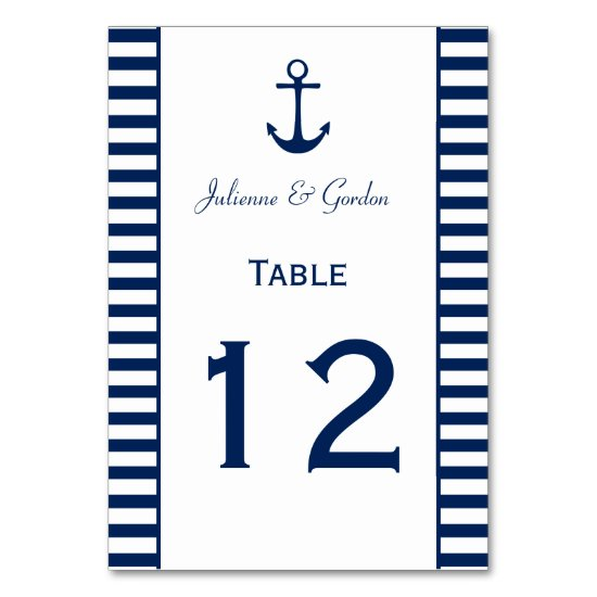 Navy Blue White Stripes Nautical Table Cards