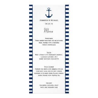 Navy Blue White Stripes Nautical Theme Menu