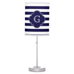 Navy Blue White Stripes, Navy Label Monogram Desk Lamp