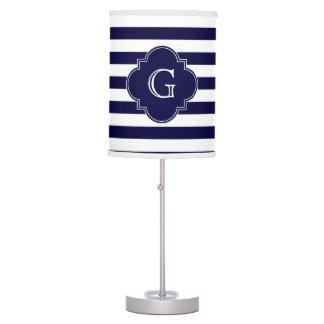Navy Blue White Stripes, Navy Label Monogram Table Lamps