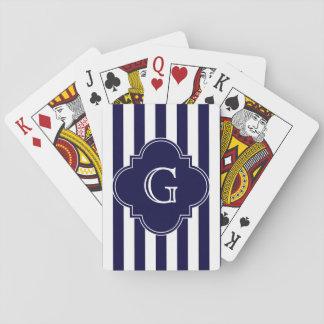 Navy Blue White Stripes, Navy Label Monogram Playing Cards