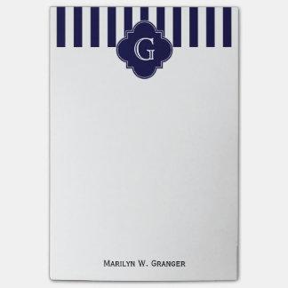 Navy Blue White Stripes, Navy Label Monogram Post-It Notes
