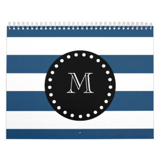 Navy Blue White Stripes Pattern, Black Monogram Calendar