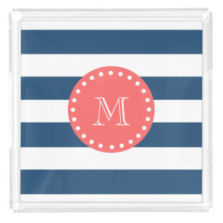 Navy Blue White Stripes Pattern, Coral Monogram Square Serving Trays