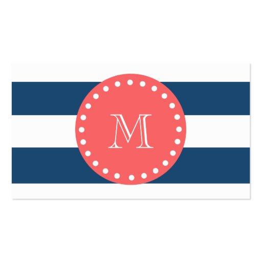 Navy Blue White Stripes Pattern, Coral Monogram Business Card
