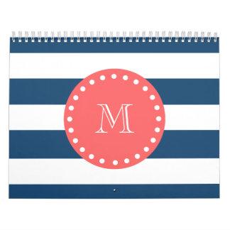 Navy Blue White Stripes Pattern, Coral Monogram Wall Calendar
