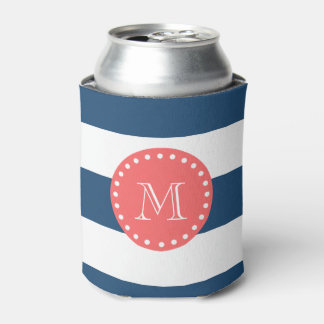 Navy Blue White Stripes Pattern, Coral Monogram Can Cooler