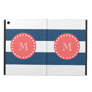 Navy Blue White Stripes Pattern, Coral Monogram Case For iPad Air