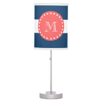 Navy Blue White Stripes Pattern, Coral Monogram Desk Lamp