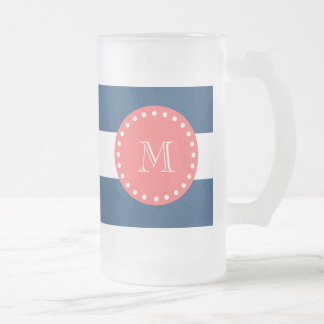 Navy Blue White Stripes Pattern, Coral Monogram Frosted Glass Beer Mug
